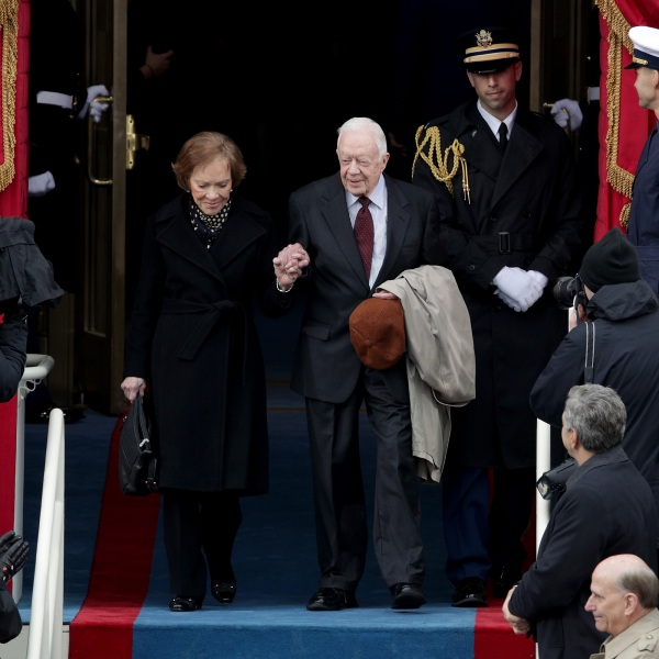 Former President Jimmy Carter and wife Rosalynn Carter arrive on the West Front of the U.S. Capitol on January 20, 2017, for the inauguration of President Donald Trump. (Photo by Alex Wong/Getty Images)