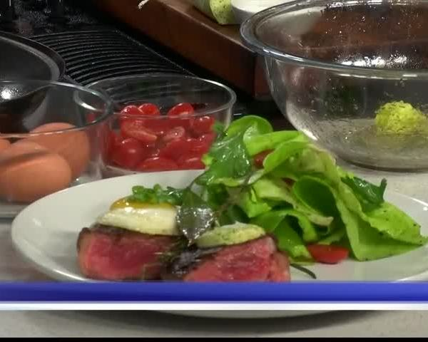 Good Day Cafe- Steak and eggs with butter lettuce salad_81514269