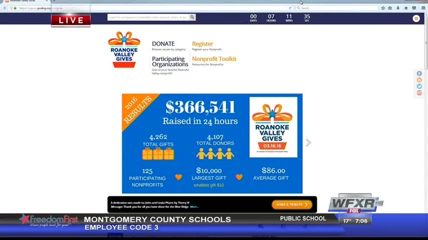 Roanoke Valley Gives Day starts off with money raised_32766249