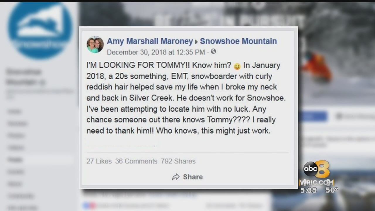 A Henrico County woman is searching for the man she believes saved her life during a ski trip last year, but her guardian angel could be anywhere.