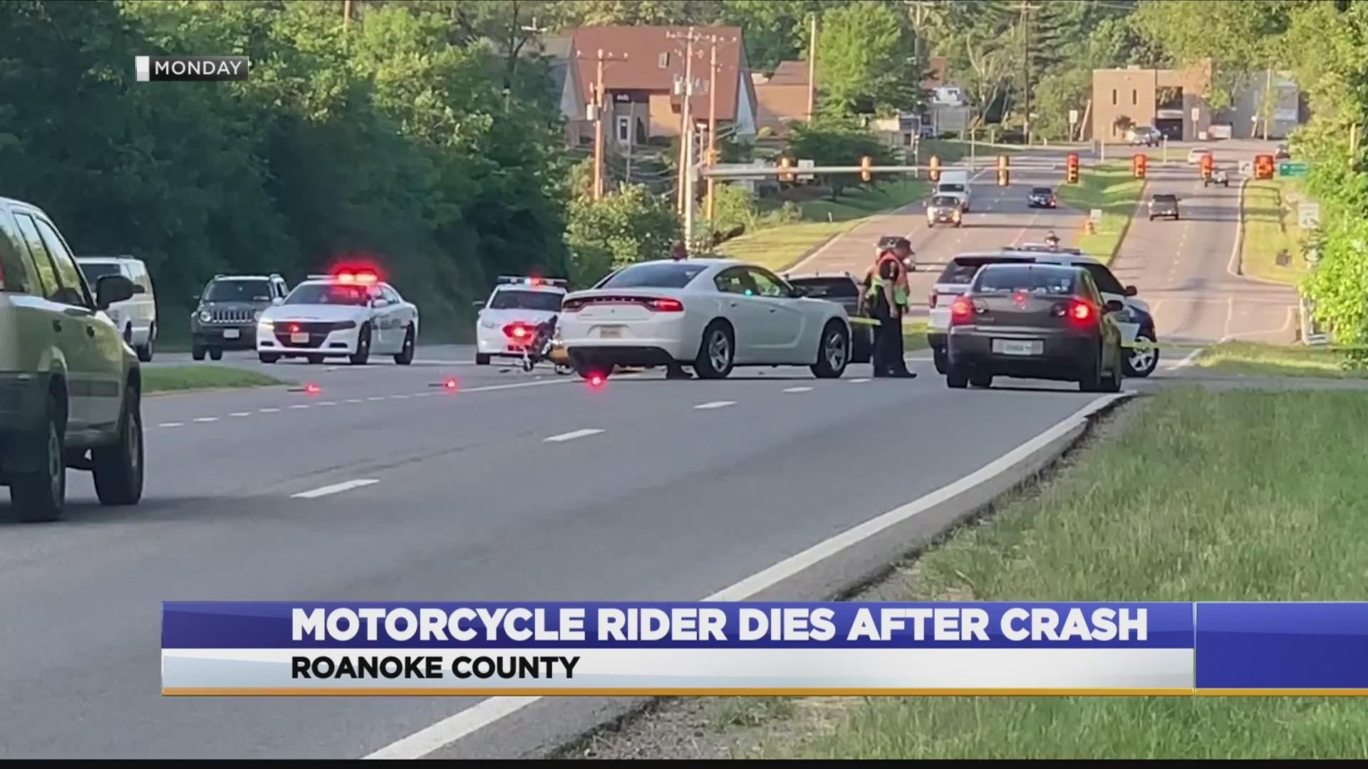 Motorcycle rider dies after crash