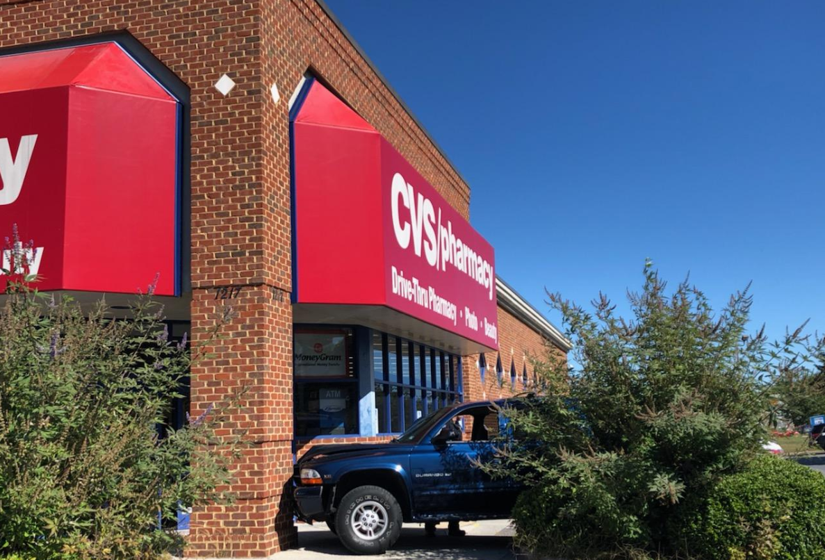 Police are investigating a car crash at the CVS Pharmacy in Bedford on Monday, Oct. 14. (Photo: Courtesy Bedford Fire Department)