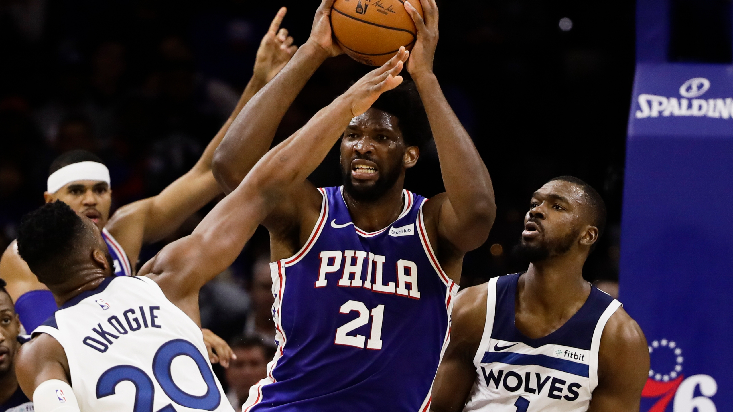 Embiid Towns Ejected As Sixers Rout T Wolves 117 95