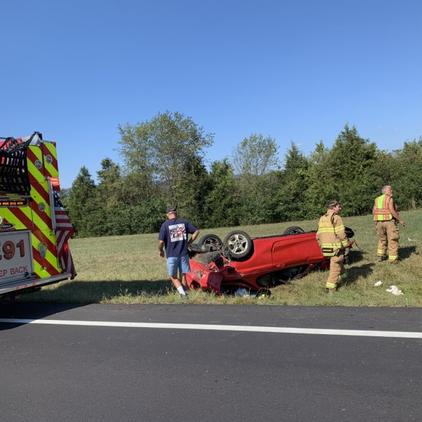 This car flipped on U.S. Highway 460 near Montvale on Thursday, Oct. 3. (Photo: Josh Hall/WFXR News)