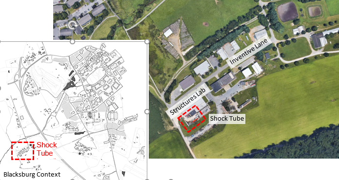 """A map shows where the """"shock tube"""" experiments will take place at Virginia Tech on Thursday, Nov. 14 and Saturday, Nov. 16. (Image: Courtesy Virginia Tech)"""