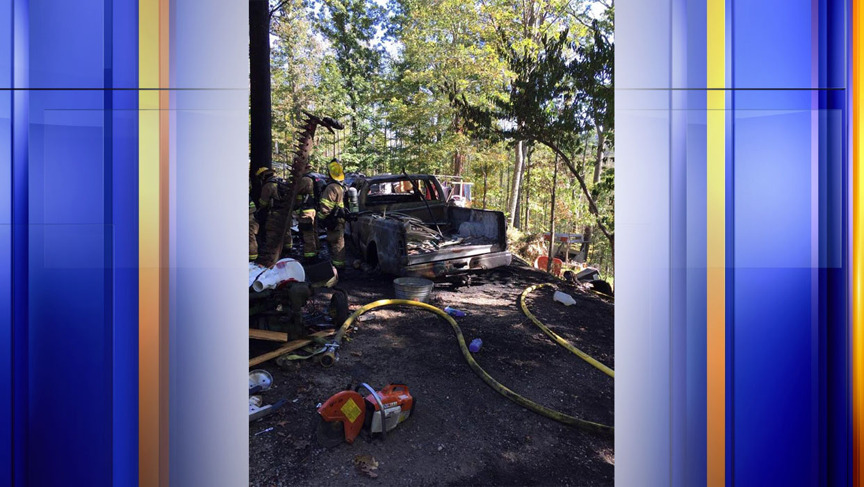 This truck was charred after a fire in the Catawba/Masons Cove section of Roanoke County. (Photo: Courtesy Roanoke County Fire and Rescue)