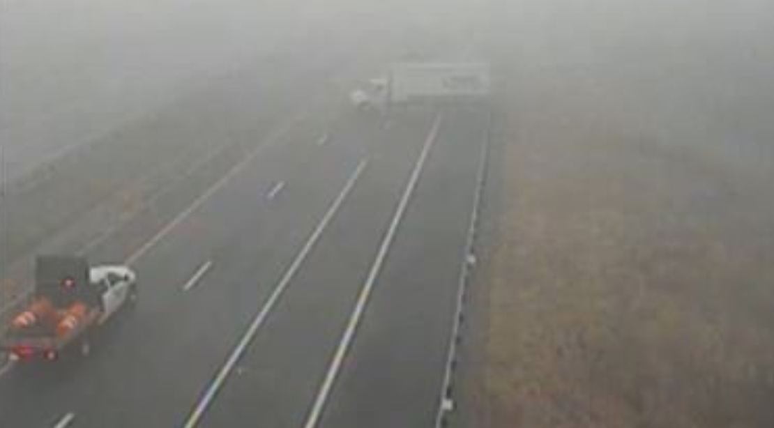 A tractor-trailer was involved in a wreck on Interstate 64 in Albermarle County. The interstate was closed for several miles Sunday, Nov. 17. (Photo: Courtesy VDOT)