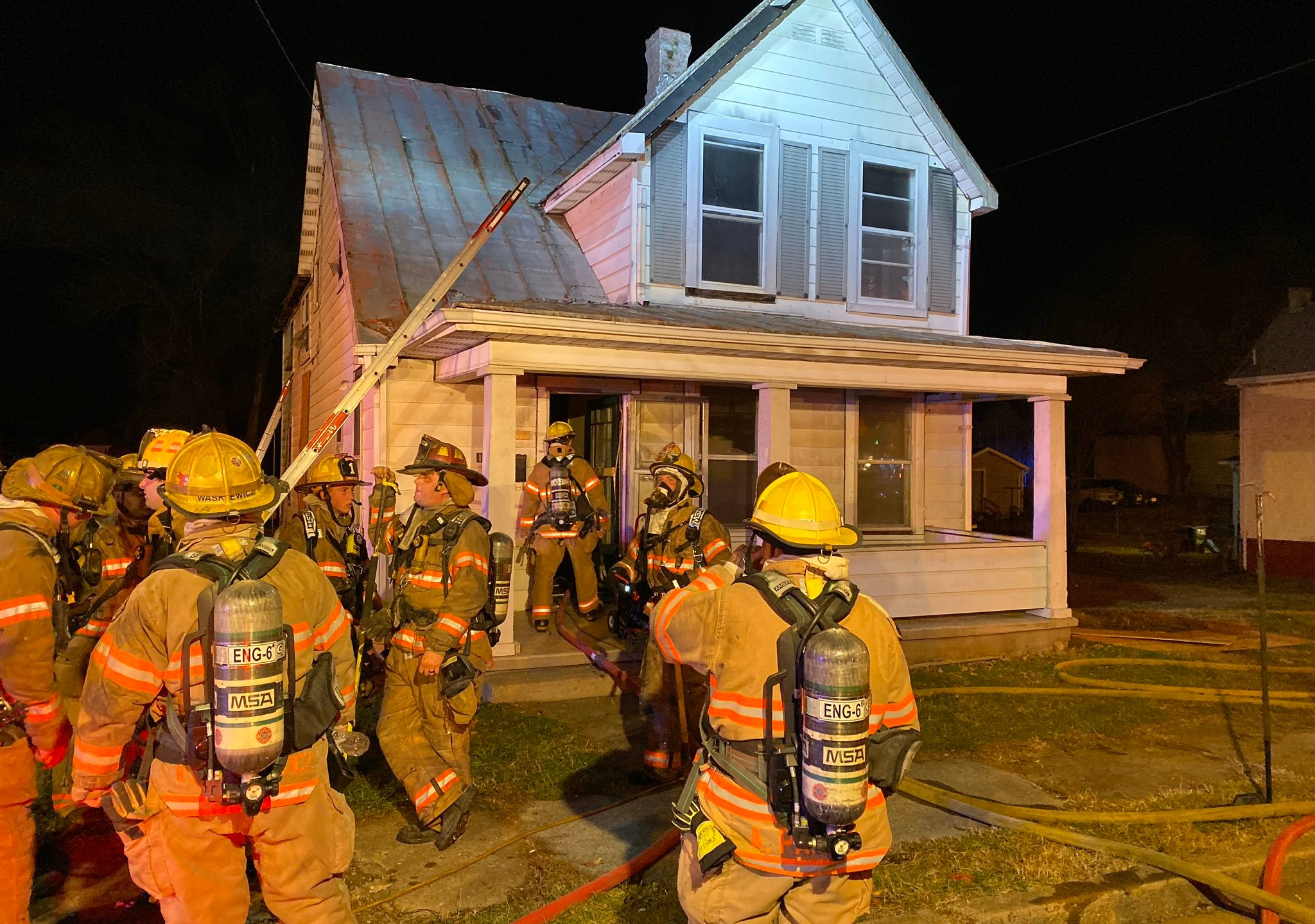 Roanoke Fire-EMS extinguished a fire at this home in the 700 block of Bullitt Avenue Southeast on Friday, Dec. 6. It was one of two fires reported in Roanoke Friday night. (Photo: Courtesy Roanoke Fire-EMS)