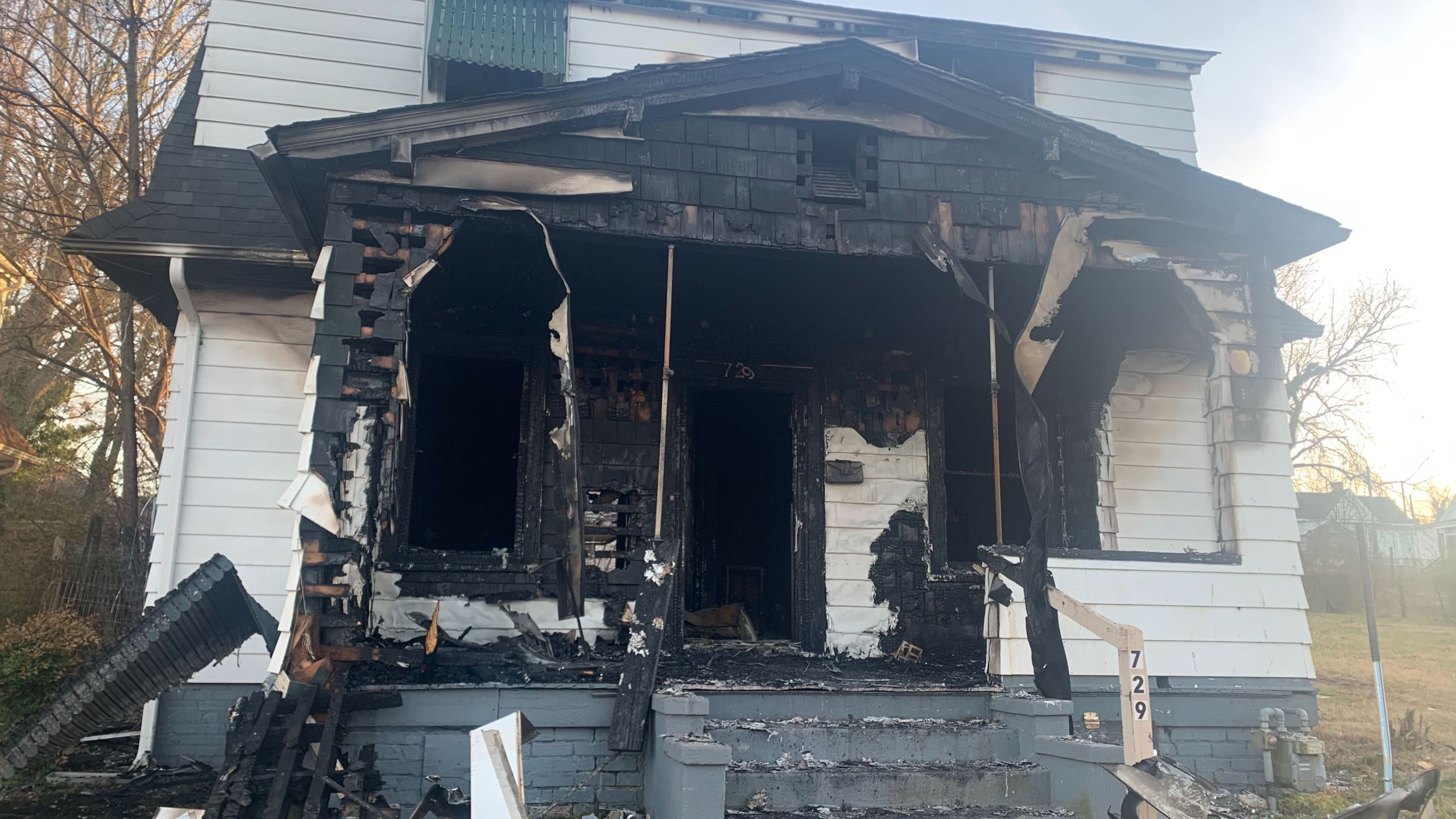 This home in at 729 Temple Avenue in Danville caught fire after a candle was left unattended, the Danville Fire Department said. (Photo: Eric Pointer/WFXR News)