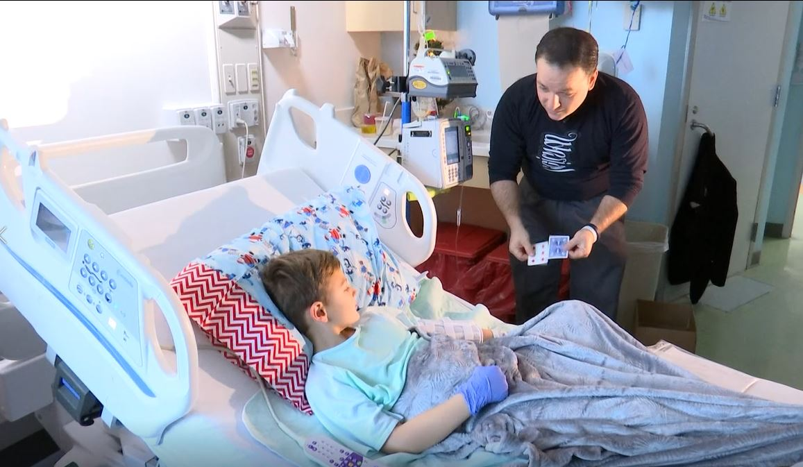 Illusionist Wes Iseli demonstrates the Magic of Giving by performing for patients at Carilion Children's Hospital.