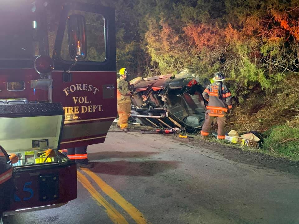 The driver in the single-vehicle crash last night in Forest was transported to the hospital, according to Forest Fire Department.