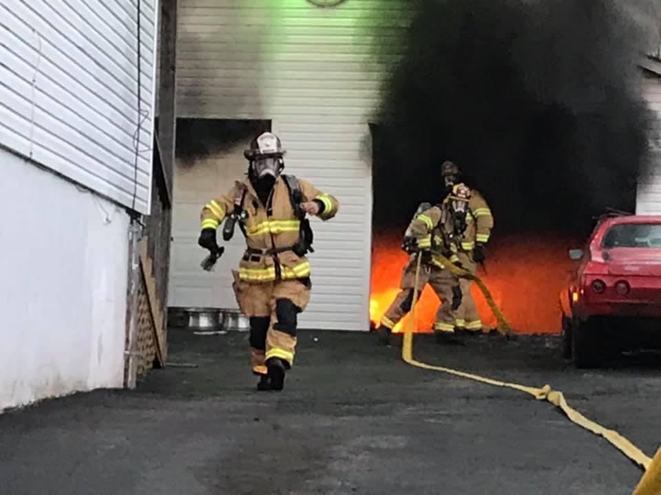 Roanoke County Fire and Rescue responded to a detached garage and a vehicle on fire this afternoon.