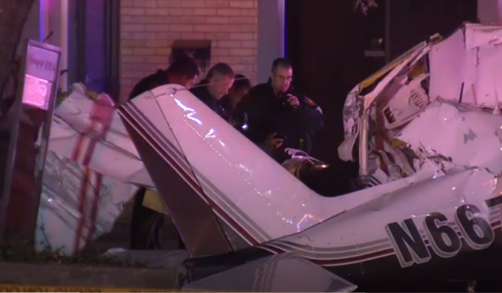 Three people were killed when a single-engine plane crashed on a city street one block away from a residential area while attempting to land at San Antonio International Airport, authorities said. (PHOTO: Courtesy AP News)