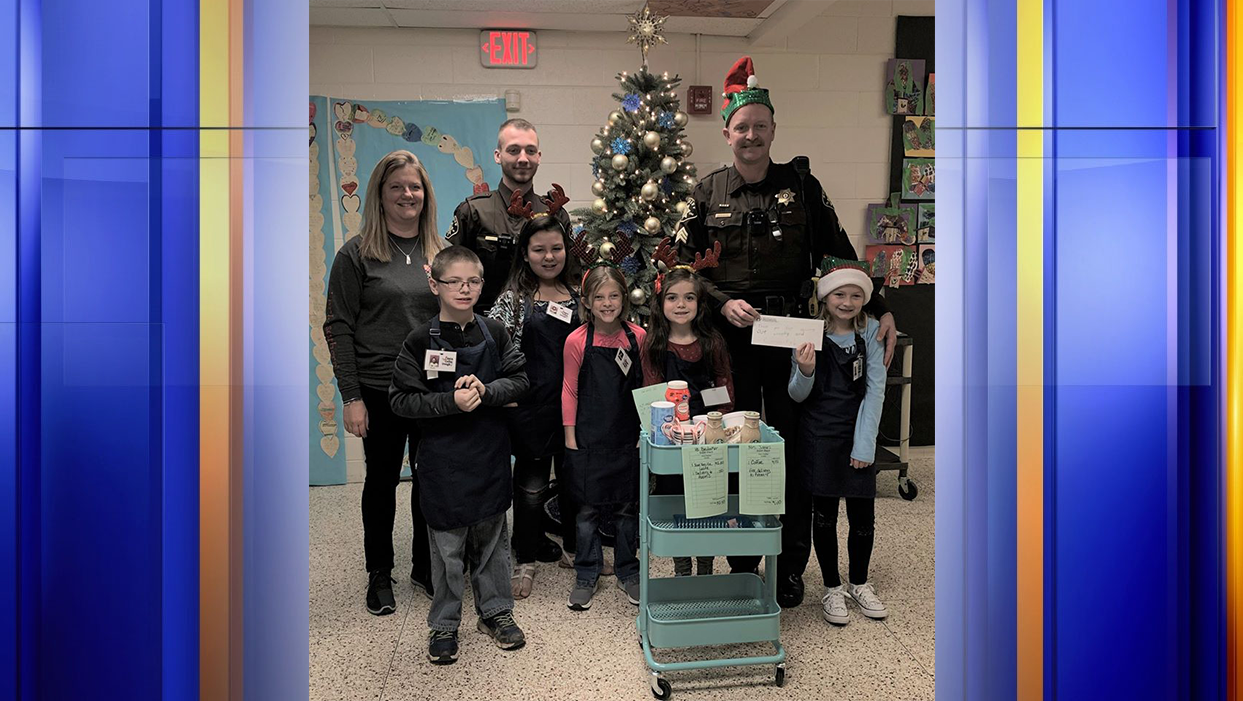 Students at Boones Mill Elementary School donated some of the revenue from their small business to the charity run by Franklin County Sheriff's Office.