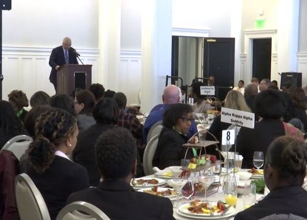 Dr. Owen Caldwell addresses the crowd at Lynchburg Community Council's annual MLK Day breakfast.