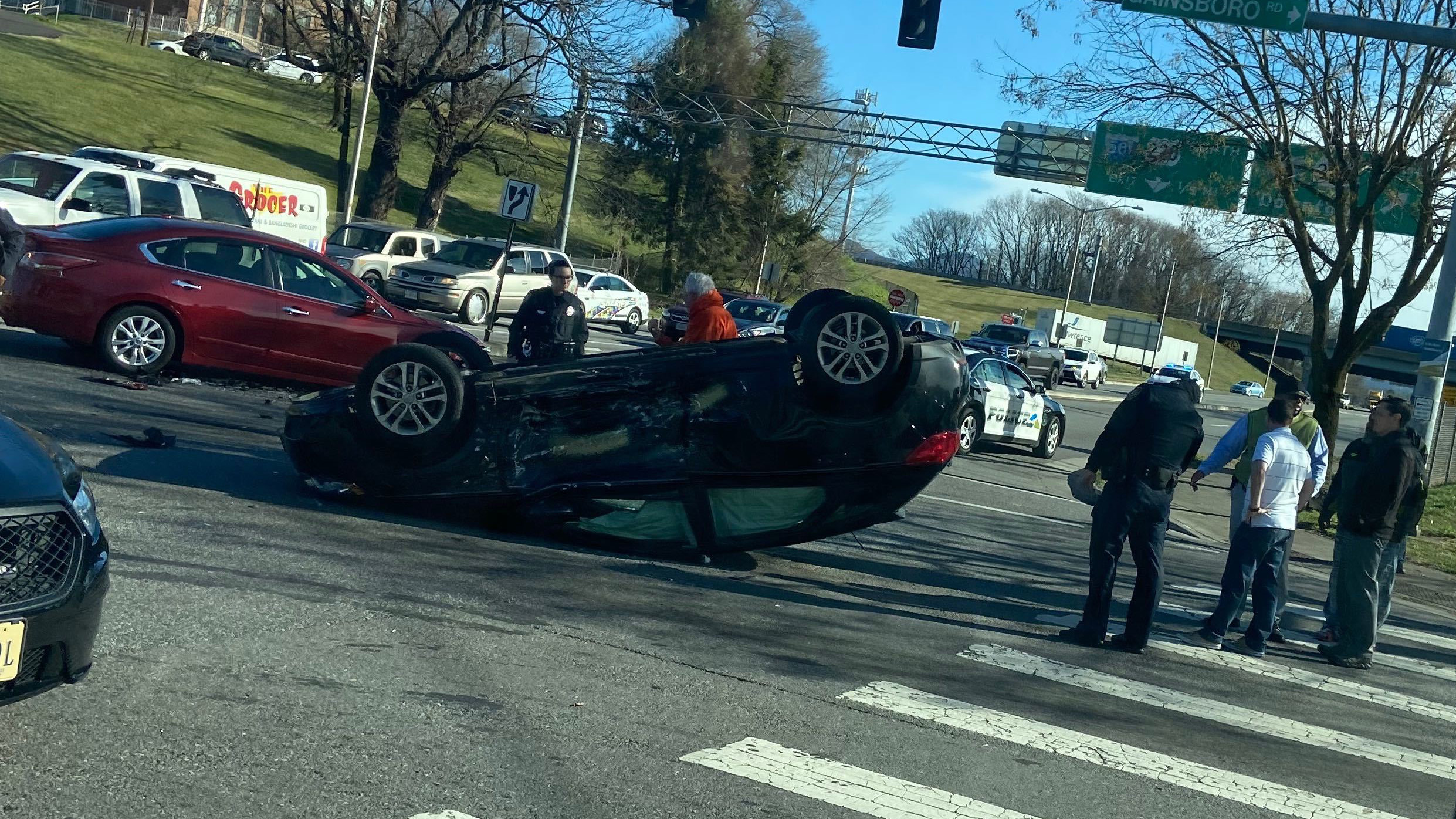 This car crashed and flipped on Thursday, Jan. 16, at the intersection of Orange Avenue and Gainsboro Road Northwest near downtown Roanoke. (Photo: Courtesy Derek Thompson)