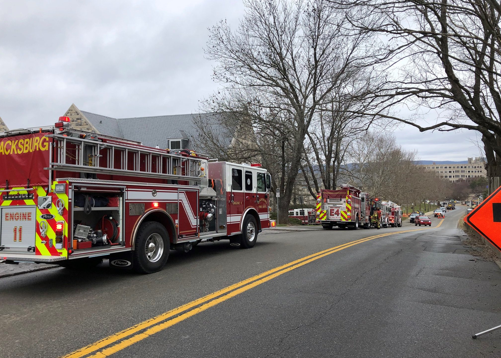 First responders were dispatched to a fire at a Virginia Tech dorm building on Monday, Feb. 24. (Photo: Courtesy Montgomery County Emergency Services)