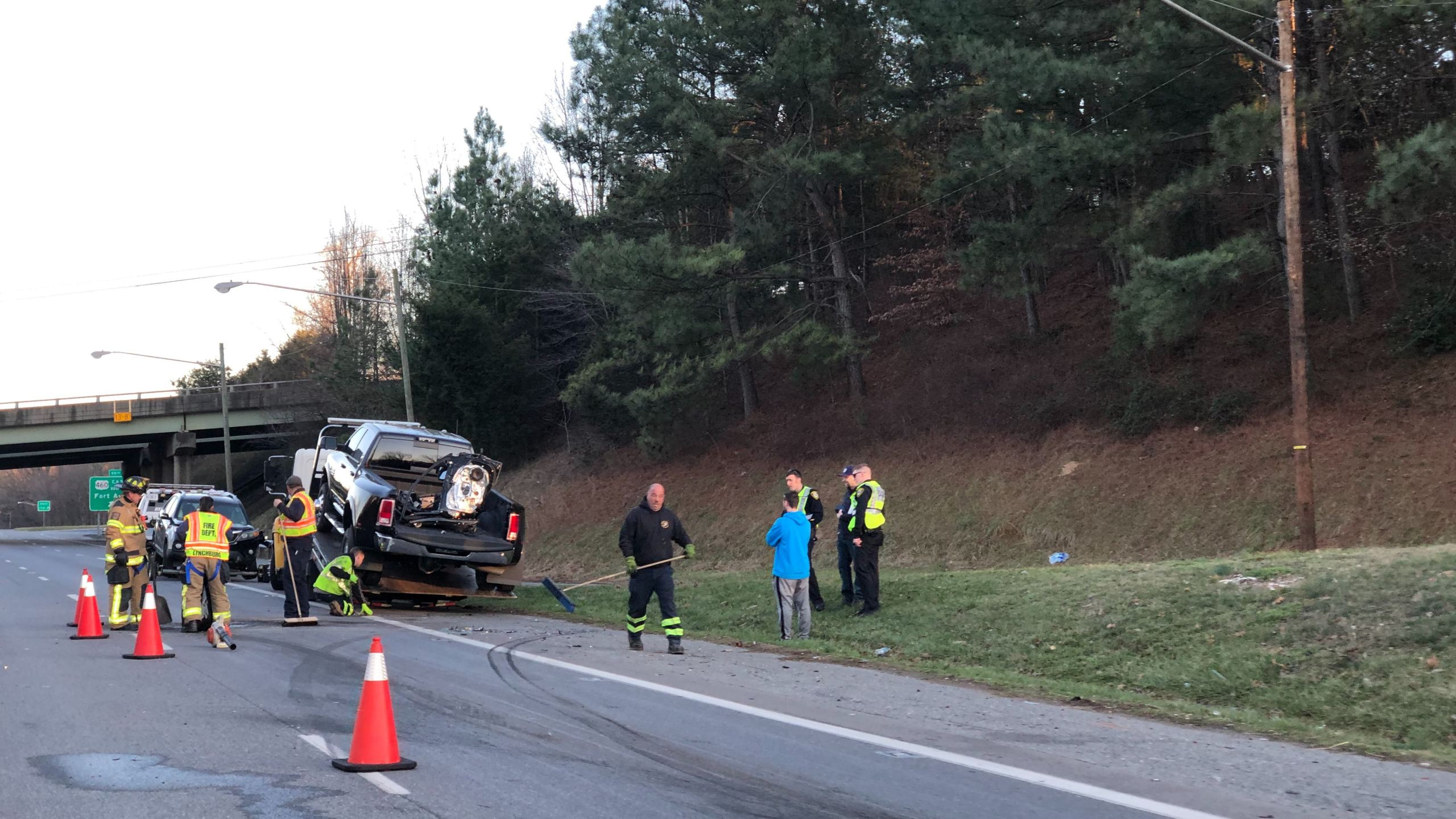 A multi-vehicle crash temporarily slowed southbound traffic along US 501 in Lynchburg on Saturday, Feb. 22. (Photo: Ryan Saylor/WFXR News)
