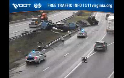 A tractor-trailer crashed at mile marker 163 on I-81 in Botetourt County on Monday, April 20. (Photo: Courtesy VDOT)