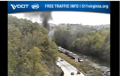 Traffic officials say there is a vehicle fire near mile marker 96 on I-81 North in Pulaski County on Sunday, May 17. (Photo: Courtesy Virginia Department of Transportation)