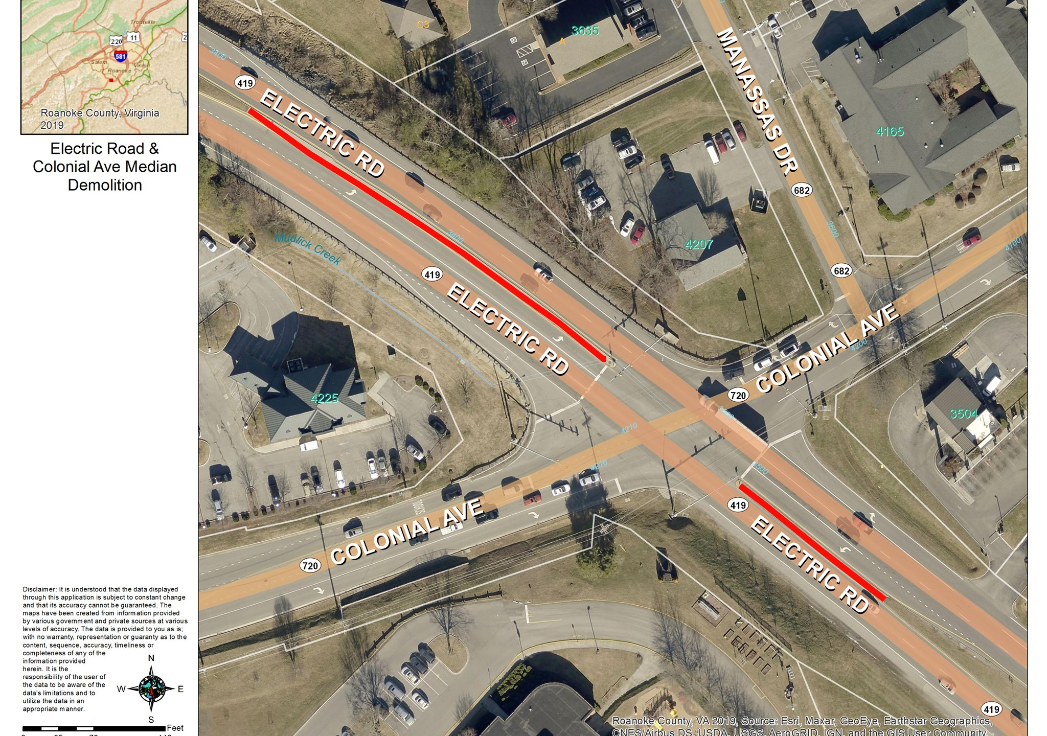 VDOT is set to begin construction on the intersection of Electric Road and Colonial Avenue on Sunday, July 12. (Photo: Courtesy Roanoke County Planning)