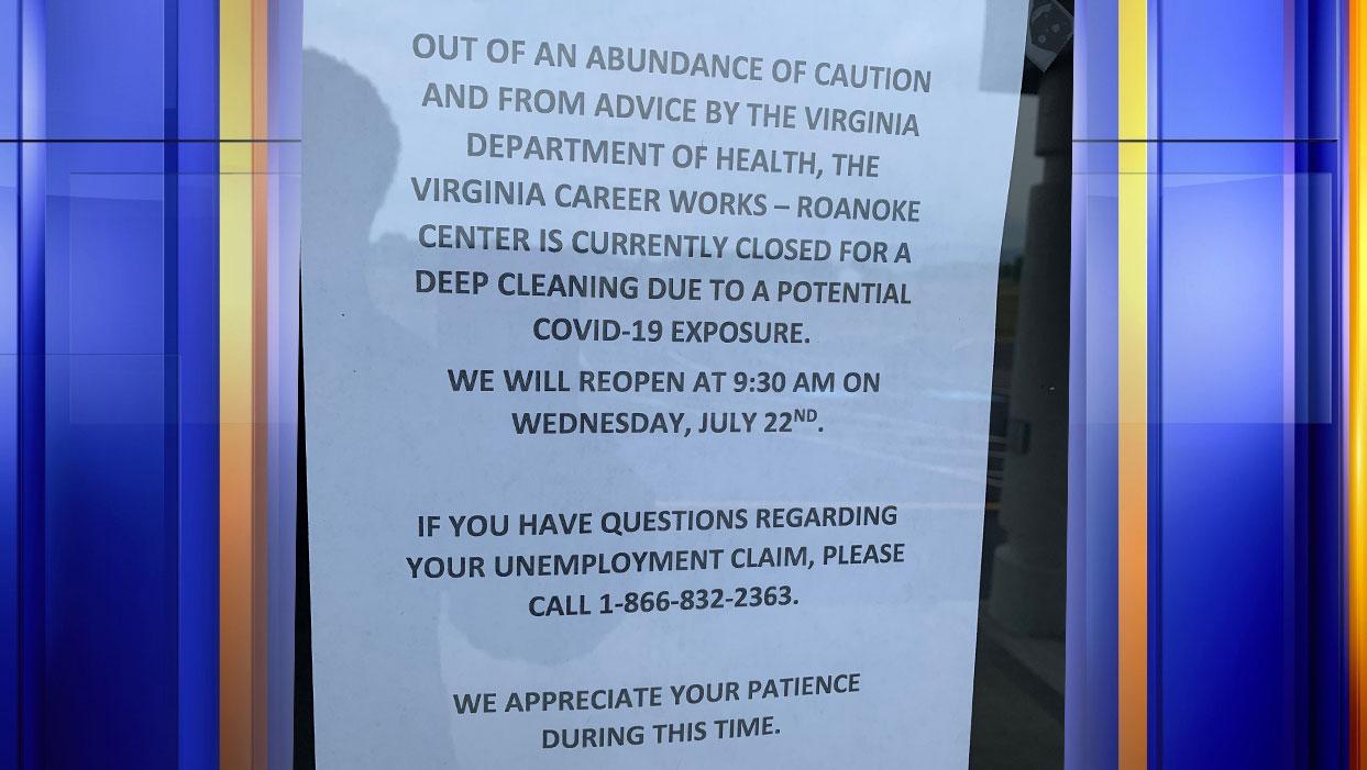 WFXR News found this flyer posted on the door of Virginia Career Works' Roanoke center on Thursday, July 16. (Photo: Jaylin Jones/WFXR News)