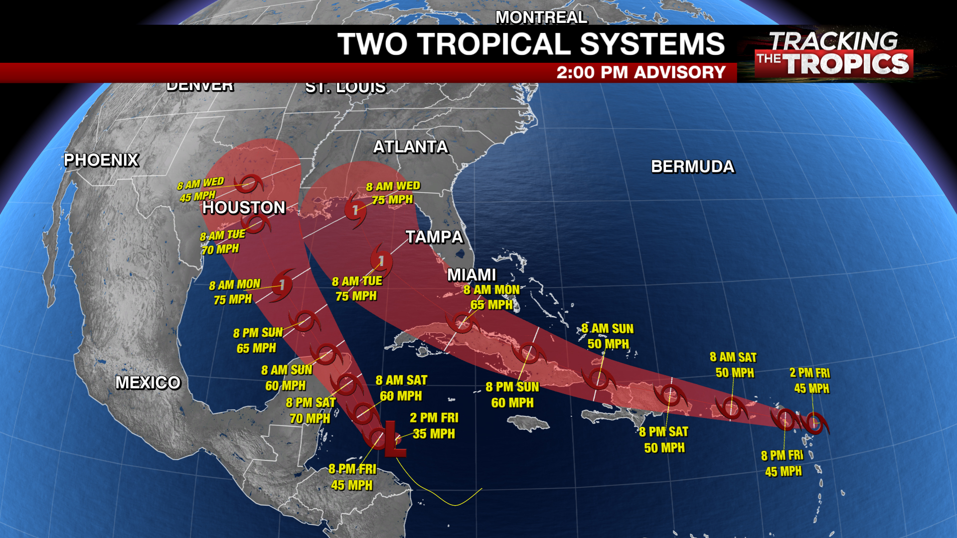 Tracking The Tropics Tropical Storm Laura S Track Shifts West Marco Expected To Form Soon Wfxrtv