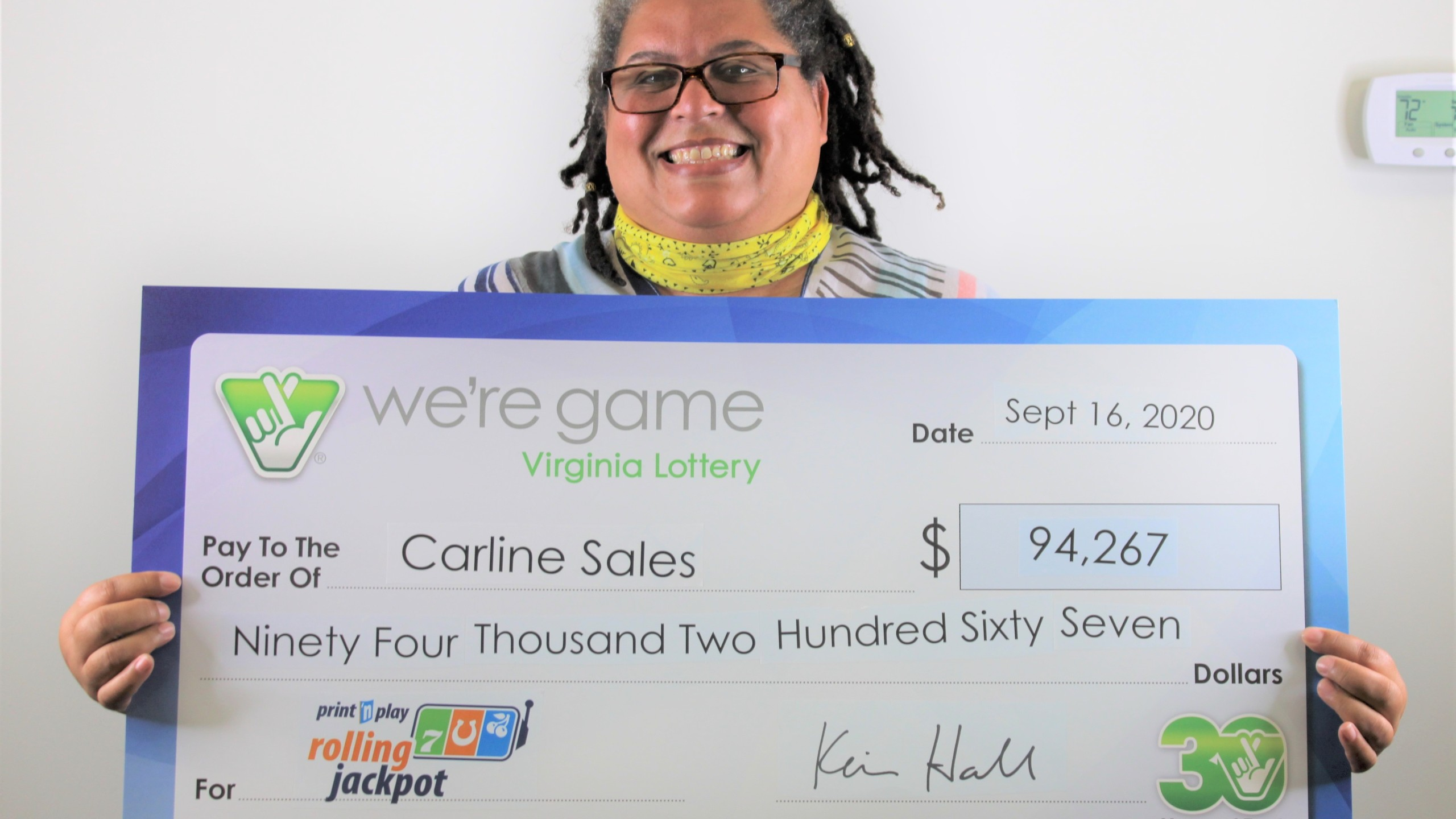 Carline Sales won $94,267 from the Virginia Lottery after purchasing a ticket from a Forest Express Lane. (Photo: Courtesy Virginia Lottery)