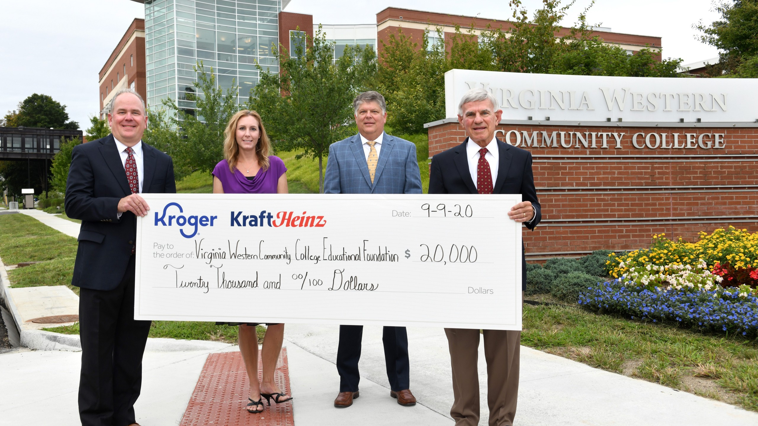 David Dantzler, Kroger executive; Allison McGee, corporate affairs manager for Kroger Mid-Atlantic; Glenn Thompson, Kroger Mid-Atlantic Division President; and Dr. Robert H. Sandel, President of Virginia Western took part in the donation of $20,000 to the Student Co-Op. (Photo: Courtesy Virginia Western)