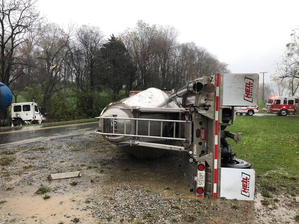 Botetourt County first responders were dispatched to an overturned tractor-trailer on Catawba Road on Thursday, Oct. 29. (Photo: Courtesy Botetourt County Department of Fire and EMS)