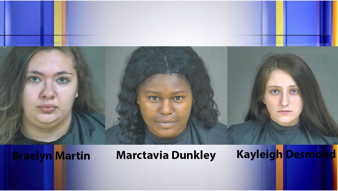 Authorities arrested Braelyn Martin, Marctavia Dunkley, and Kayleigh Desmond on Tuesday, Oct. 27, in connection with an armed robbery at a Halifax County mini mart on Oct. 6. (Photos: Courtesy Blue Ridge Regional Jail Authority)