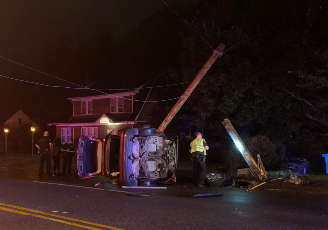 Roanoke first responders were dispatched after a vehicle crashed into a power pole on Brandon Avenue SW on Thursday, Nov. 12. (Photo: Courtesy Roanoke Fire-EMS)