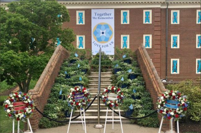 Building 2 at Virginia Beach's municipal complex as it was adorned on the anniversary of the mass shooting, May 31, 2020 (Photo: Courtesy WAVY)