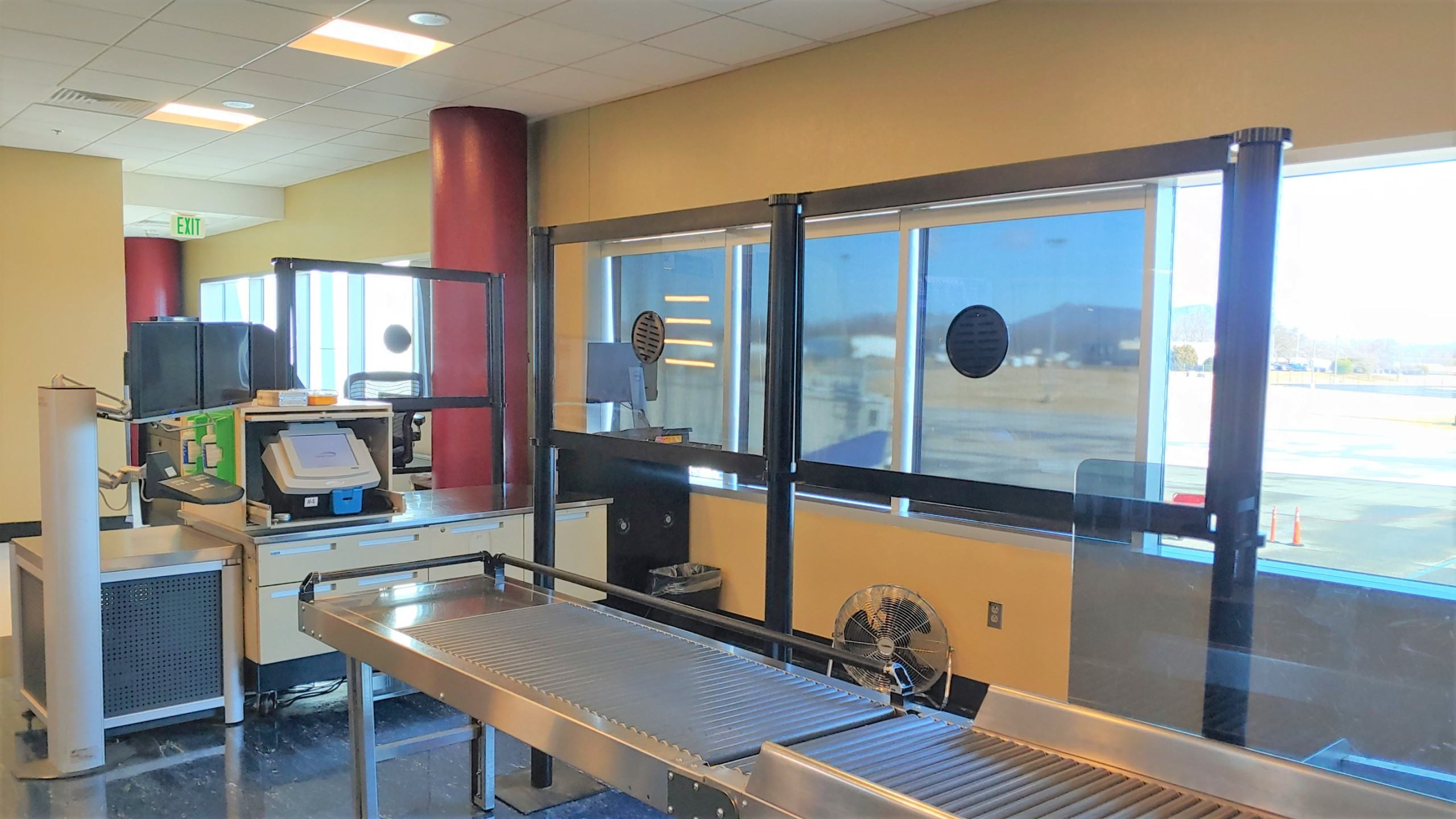 Acrylic barriers have been installed at the TSA checkpoint at Roanoke-Blacksburg Regional Airport to help protect the workforce and passengers. (Photo: Courtesy TSA)
