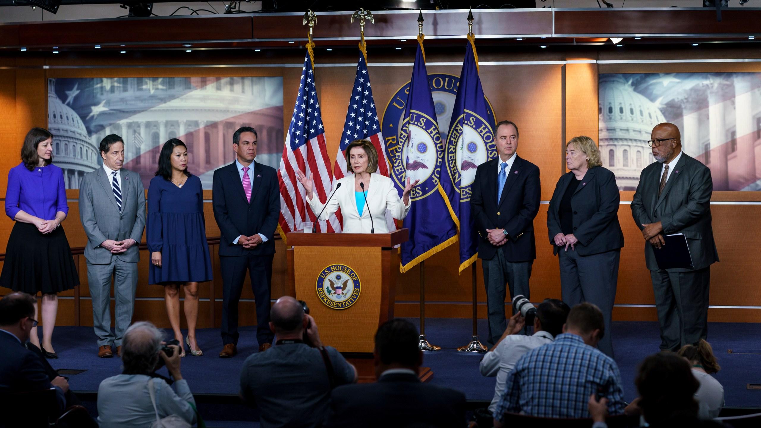 Nancy Pelosi, Elaine Luria, Pete Aguilar, Stephanie Murphy, Jamie Raskin, Adam Schiff, Zoe Lofgren, Bennie Thompson